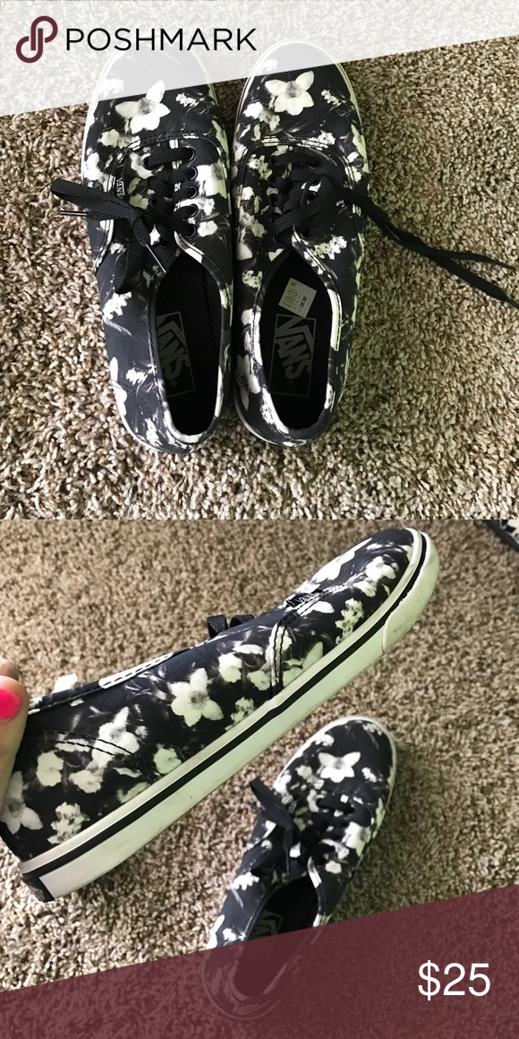 96ab943433 PERFECT condition women s Vans 7.5 Worn 2 times. Black and white floral vans.  Size