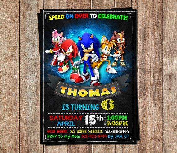 Sonic Invitation Sonic Birthday Sonic Personalized Sonic
