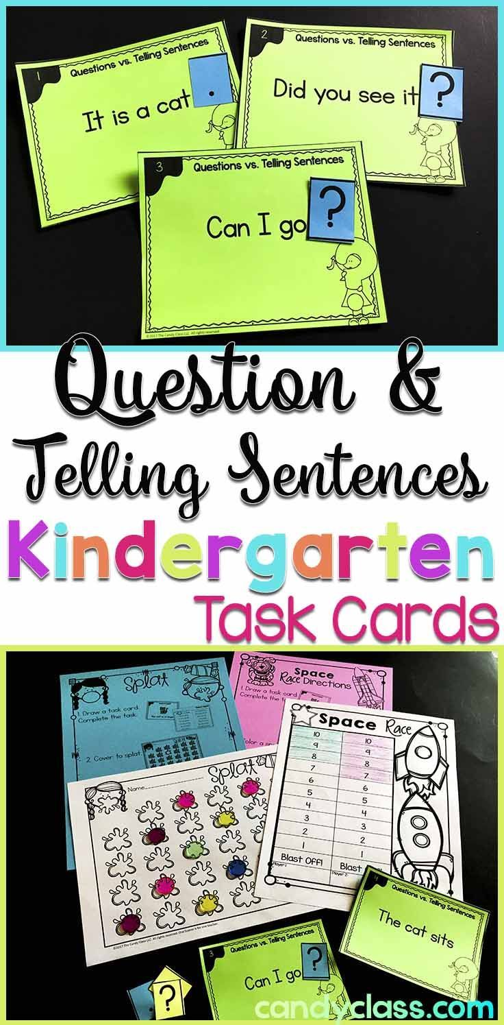 Asking Telling Sentence Task Cards With Anchor Charts Kindergarten Grammar Teaching Writing Kindergarten Anchor Charts Punctuation Activities