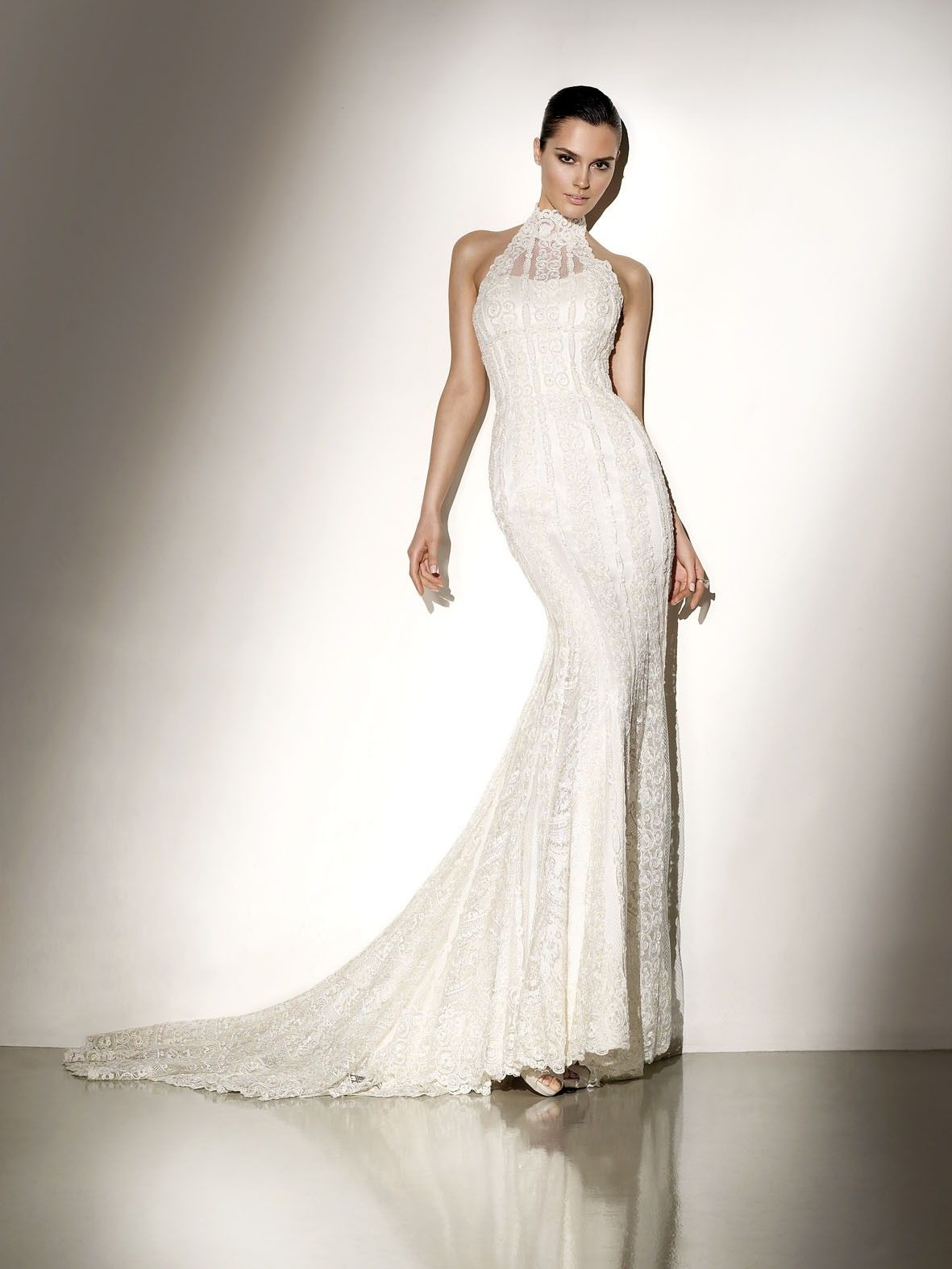 Wedding dress with collar  High Collar Lace Appliqued Satin Wedding Gown  Designer