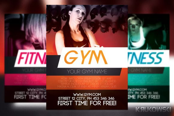 Check out Gym training Flyer Template by Krukowski on Creative - Gym Brochure Templates