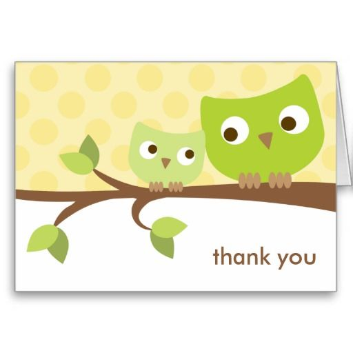 Green Owls Note Card! Make your own foldedcards more personal to celebrate the arrival of a new baby. Just add your photos and words to this great design.