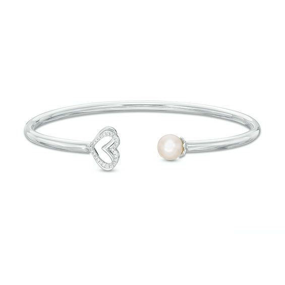 Zales 10.0-11.0mm Oval Cultured Freshwater Pearl and White Topaz Bypass Bangle in Sterling Silver