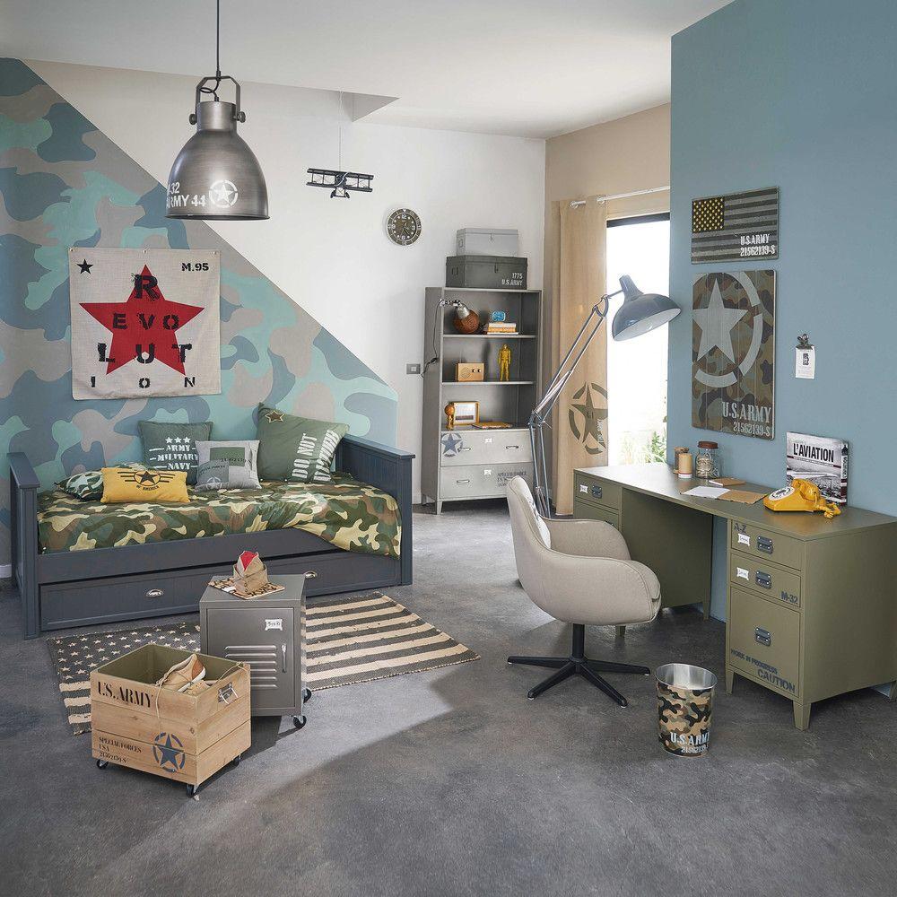 table de chevet roulettes en m tal grise l 37 cm ruben. Black Bedroom Furniture Sets. Home Design Ideas