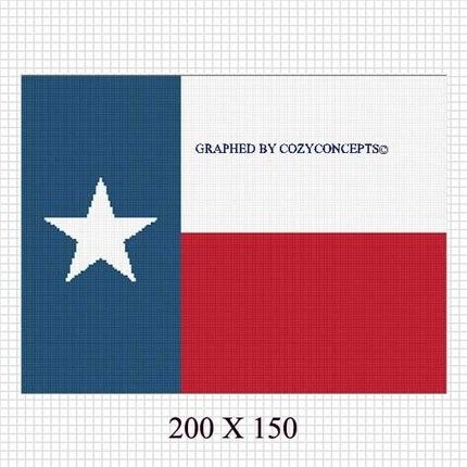 Lone Star State Texas Flag Crochet Pattern Graph Afghan Emailed