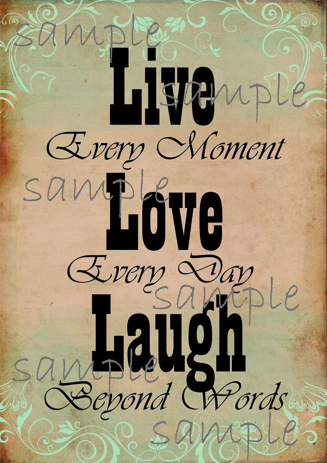 Live Laugh Love - Digital Printable Collage Sheet - Wall Art - Frame and Hang. $4.25, via Etsy.