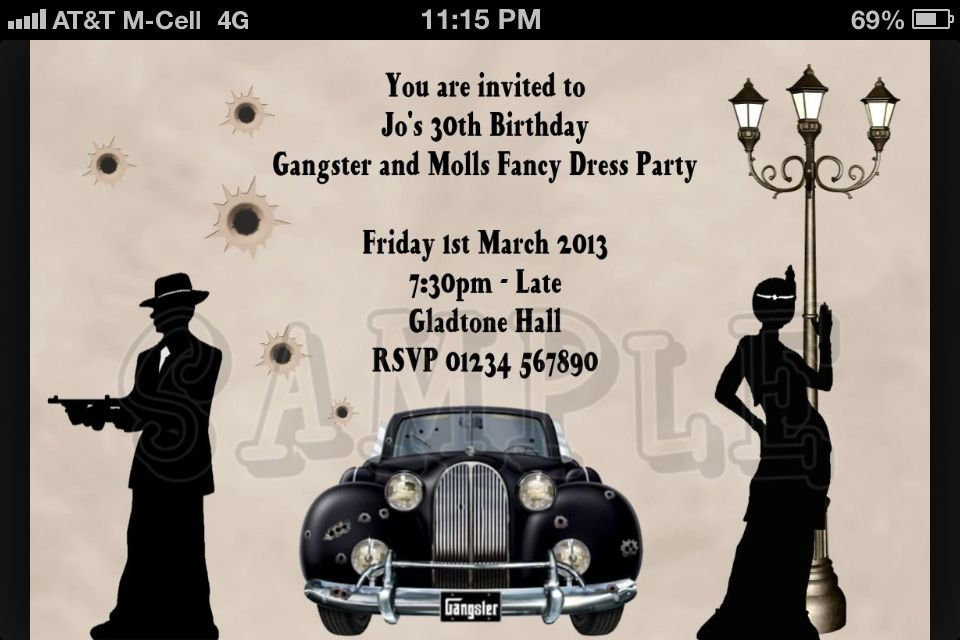 Gangster party invite Gatsby party Pinterest – Gangster Party Invitations