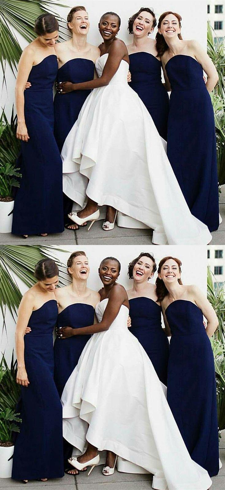Dark blue strapless tight bridesmaid dresses long elegant evening