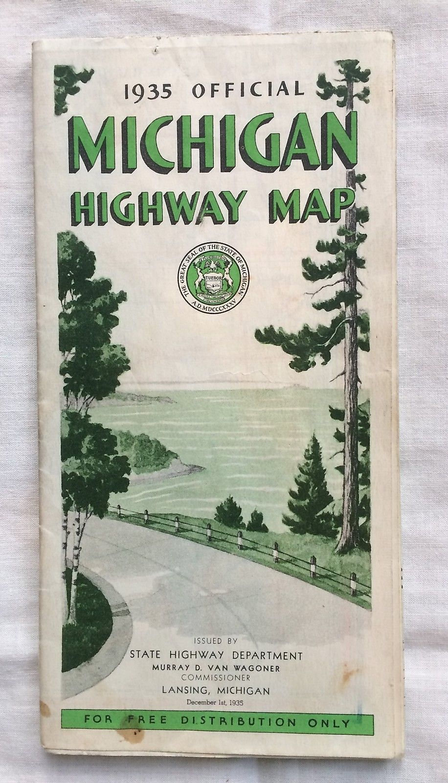 Map Michigan State%0A Michigan Highway Map Official State      Color Photos Vintage Original