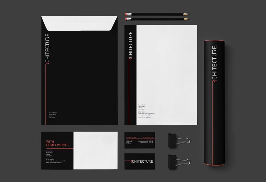 Rchitecture Branding  Stationary Set Consisting Of Envelope