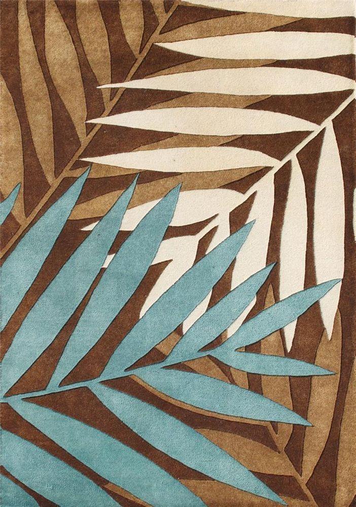 Wool Area Rug Brown Blue Beige 8x10 Fern Leaf