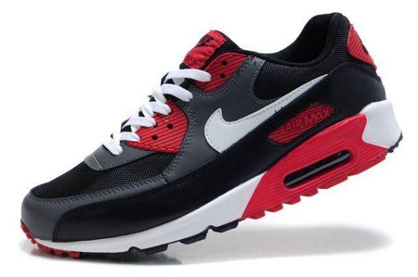 ac3c4a30d313b Nike Air Max 90 Mens Black Cool Grey-White-University Red