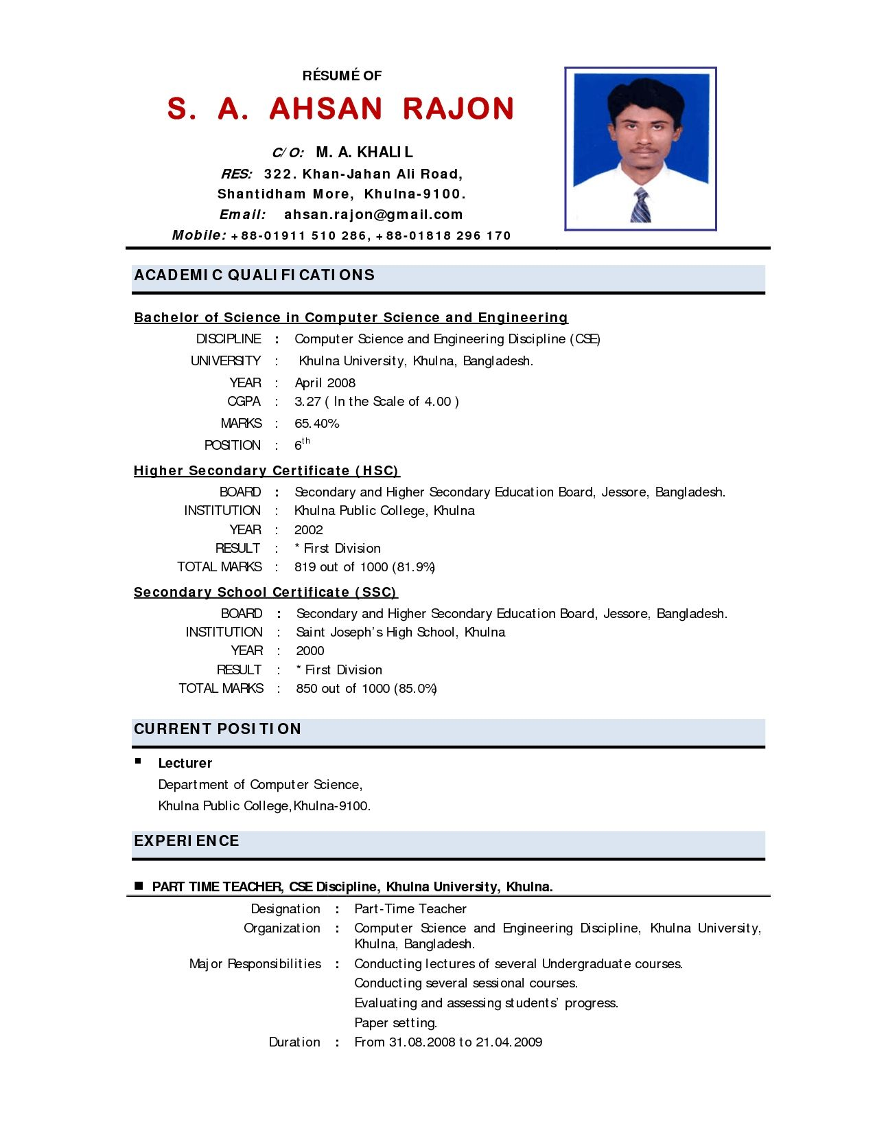 free download sample resume for lecturer