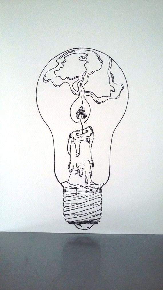 Affiche Illustration Noir Et Blanc Ampoule Tenir Une Lampe Allumee