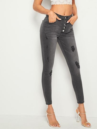 ff9369582 Button Fly Ripped Skinny Jeans [swpants04190507569] - $34.00 : moonbaye.com