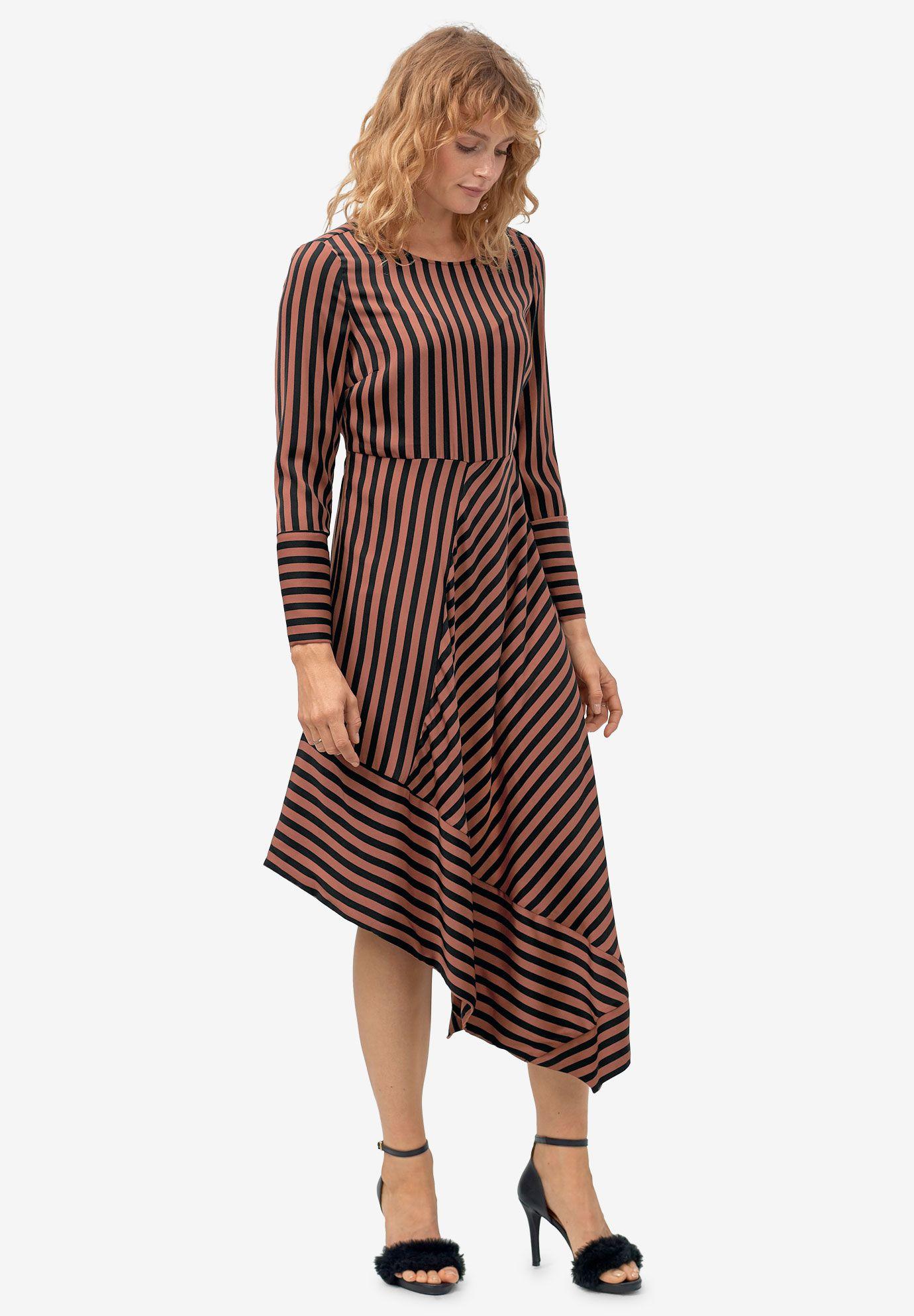 Asymmetrical Striped Dress By Ellos Striped Dress Dresses Casual Dresses [ 1986 x 1380 Pixel ]