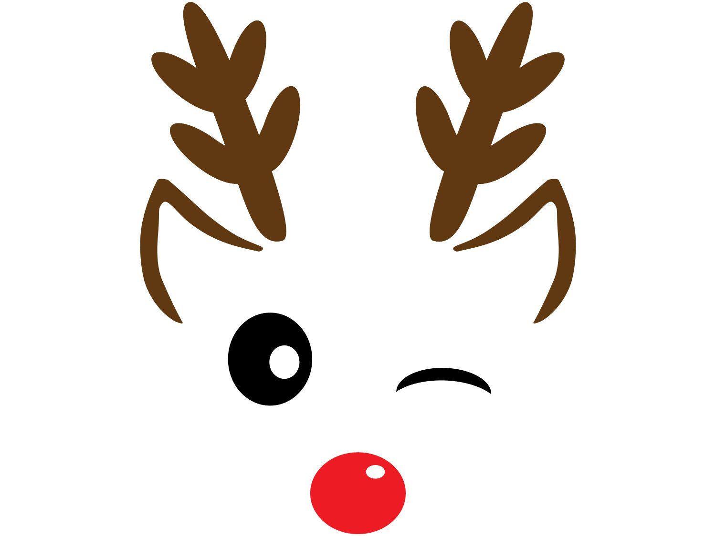Winter Holiday Christmas Clip Art Reindeer Face Winking Etsy Christmas Drawing Reindeer Face Christmas Stencils