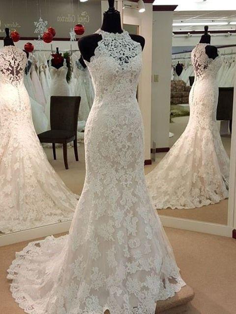 ea7f2760f1db0 Ericdress Charming Jewel Appliques Sheath Wedding Dress | .::Wedding ...