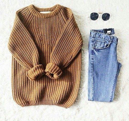 knit sweater + denim
