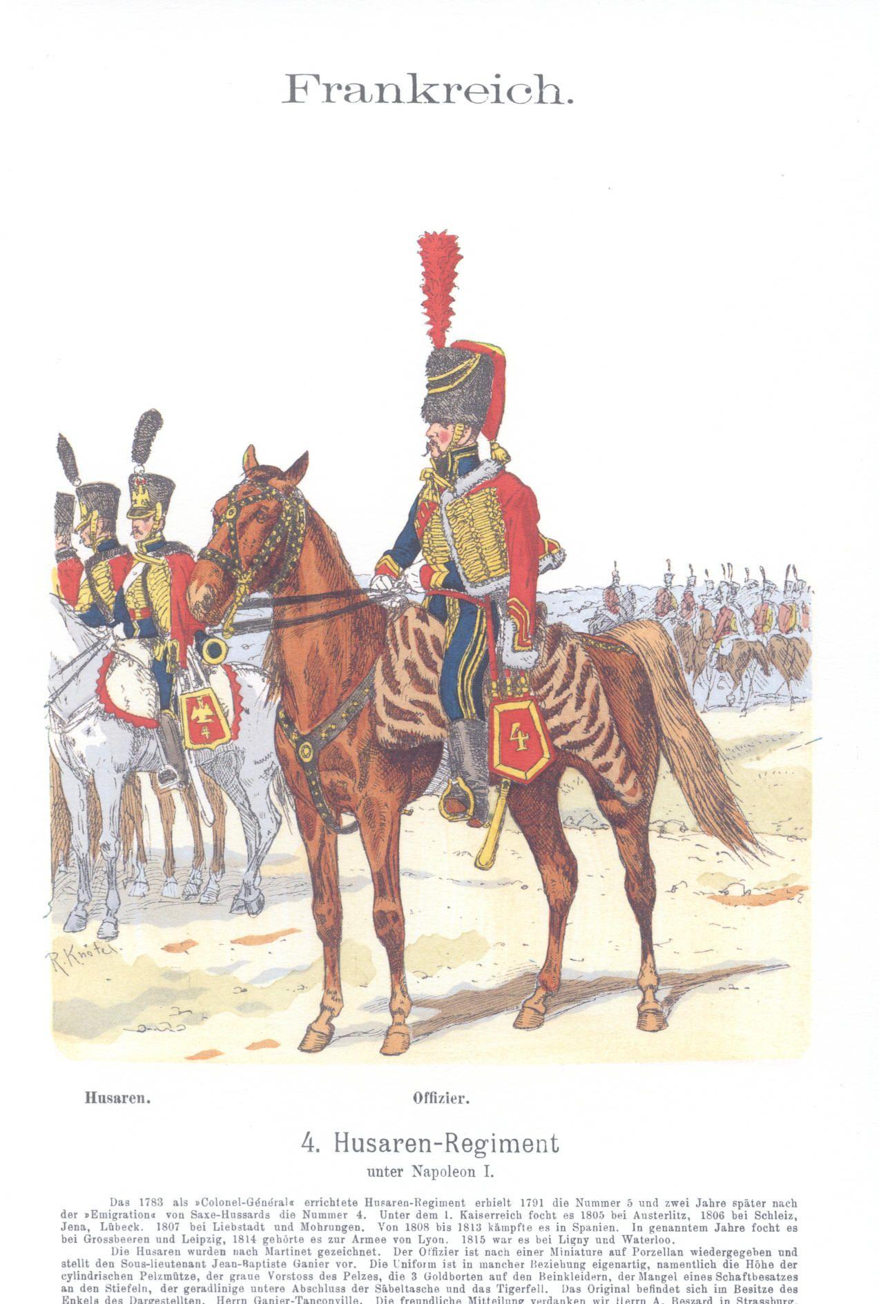 Vol 12 - Pl 58 - Frankreich. 4. Hus. Rgt. unter Napoleon I.