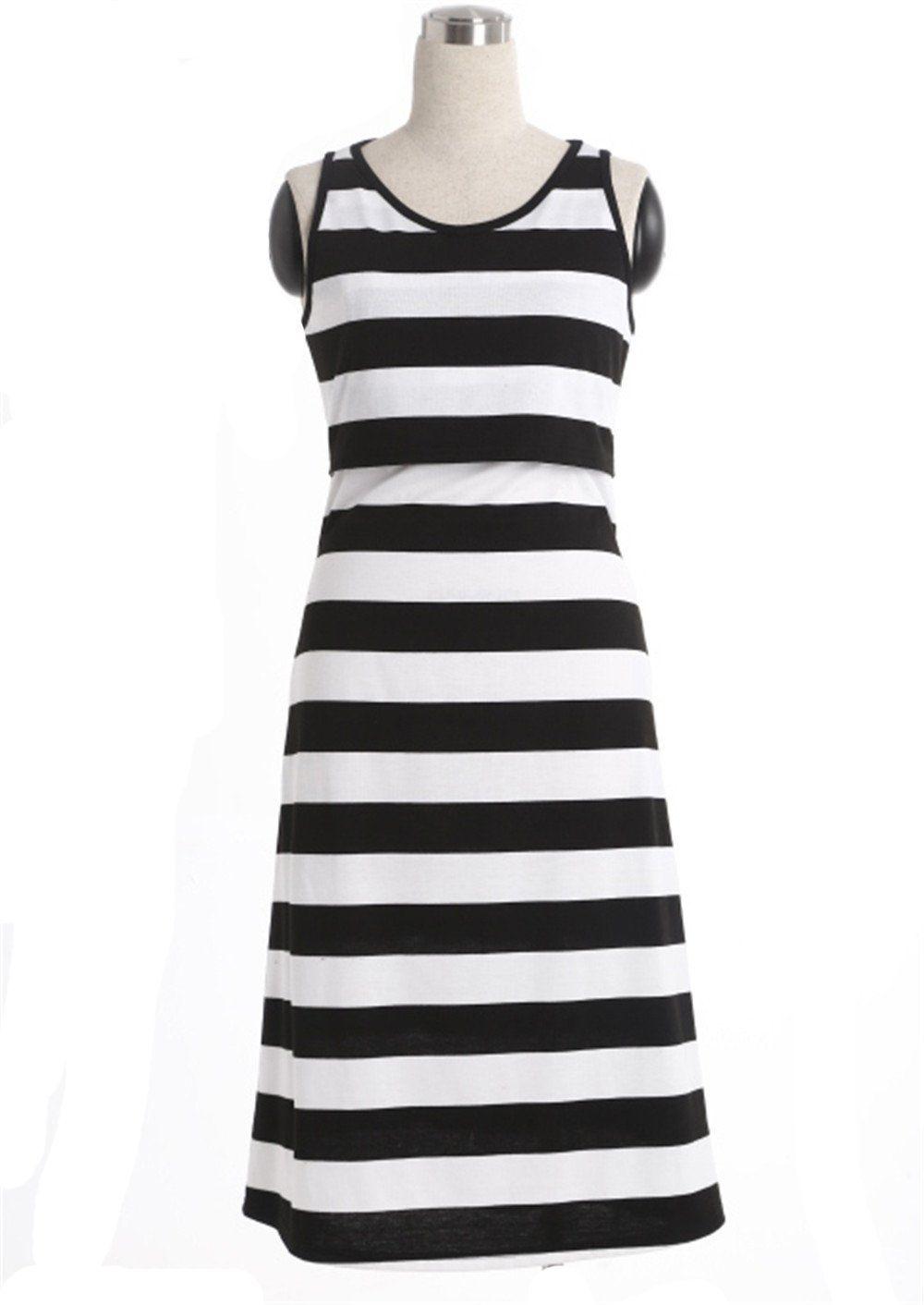 6e948e051c9f Maternity Styles - close-fitting maternity maxi dress   JWLG Striped  Maternity Pregnant Fulllength Clothing