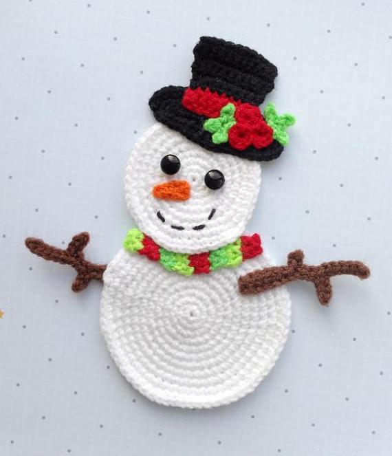 Pattern Snowman Applique Crochet Pattern Pdf Christmas Etsy In 2020 Christmas Crochet Patterns Holiday Crochet Christmas Applique