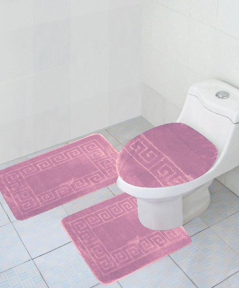 3 Piece Bathroom set PINK Rug Contour