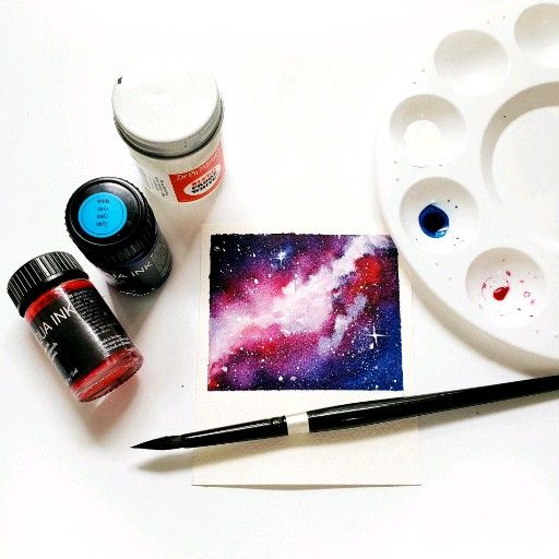 Galaxy Polaroid painting  #watercolorart