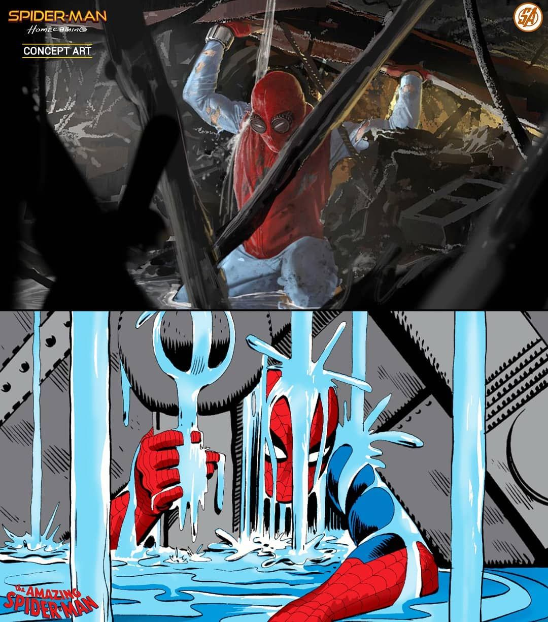 Marvel Studios Concept Artist Shares Concept Art Behind A Key Sequence In Spider Man Homecoming Inspired By Stan Lee And Ste Spiderman Steve Ditko Concept Art