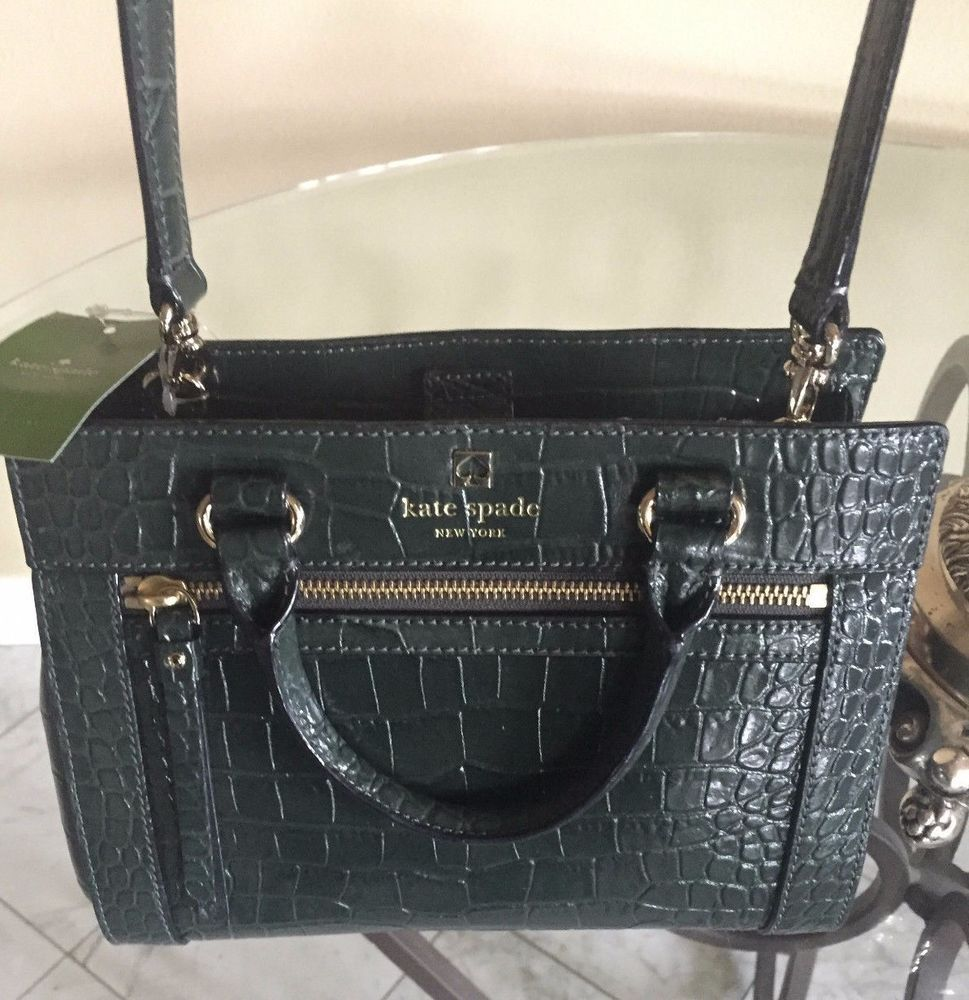 a885aa8ca5 Kate Spade Crossbody Mini Romy Perri Lane Croc FOREST GREEN Handbag NWT  $398 #katespade #