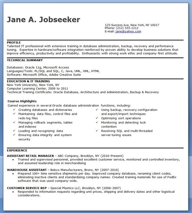database administrator resume entry level creative