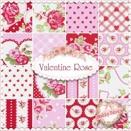 """Valentine Rose  16 FQ Set By Tanya Whelan For Free Spirit: Valentine Rose is a collection by Tanya Whelan for Free Spirit.  100% cotton.  This set contains 16 fat quarters, each measuring approximately 18"""" x 21""""."""