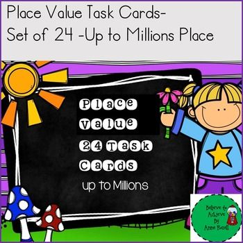 Are you looking for ready to use  task cards with place value to the millions including rounding?  Enjoy these 24  free Back to School themed place value task cards! You can copy these on card stock, laminate, and they are ready to use. I've included a recording sheet and answer key.