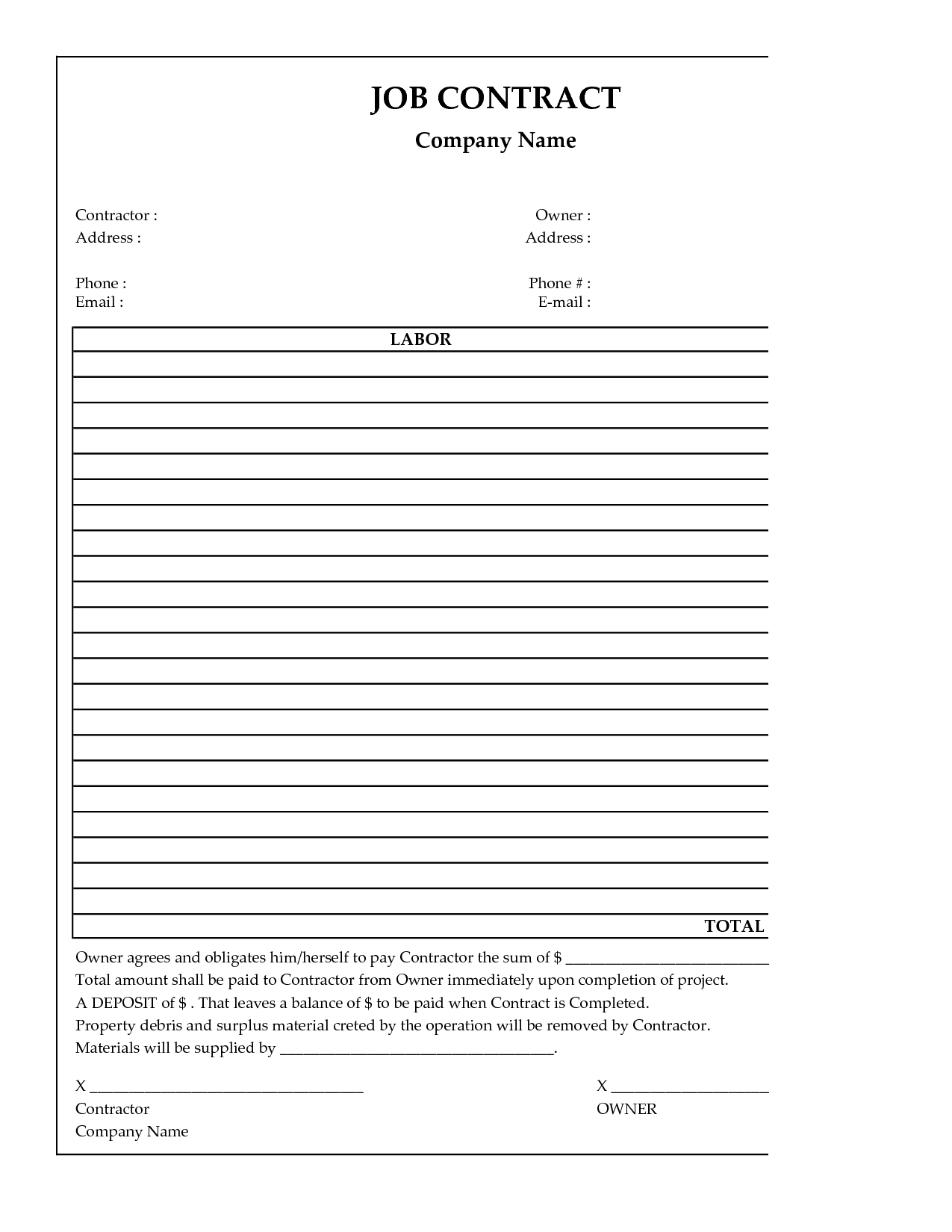 image result for simple general laborer contractor forms