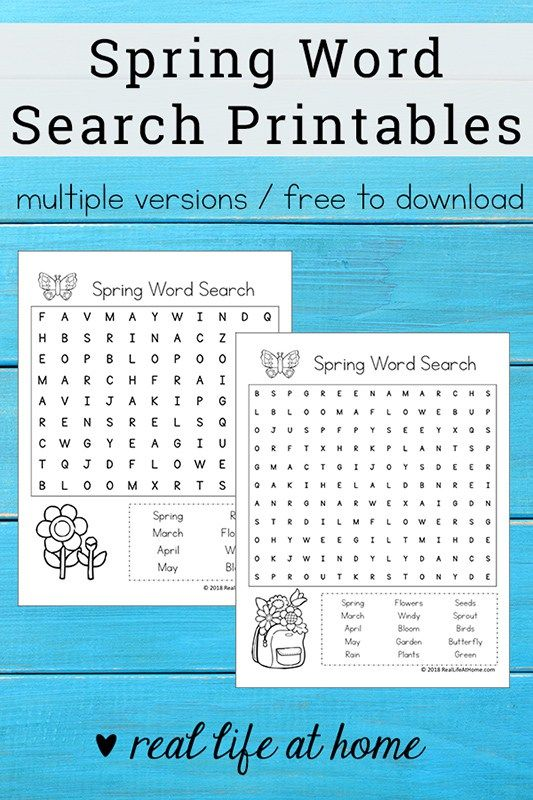 Free Printable: Spring Word Search Printable Puzzle for Kids ...