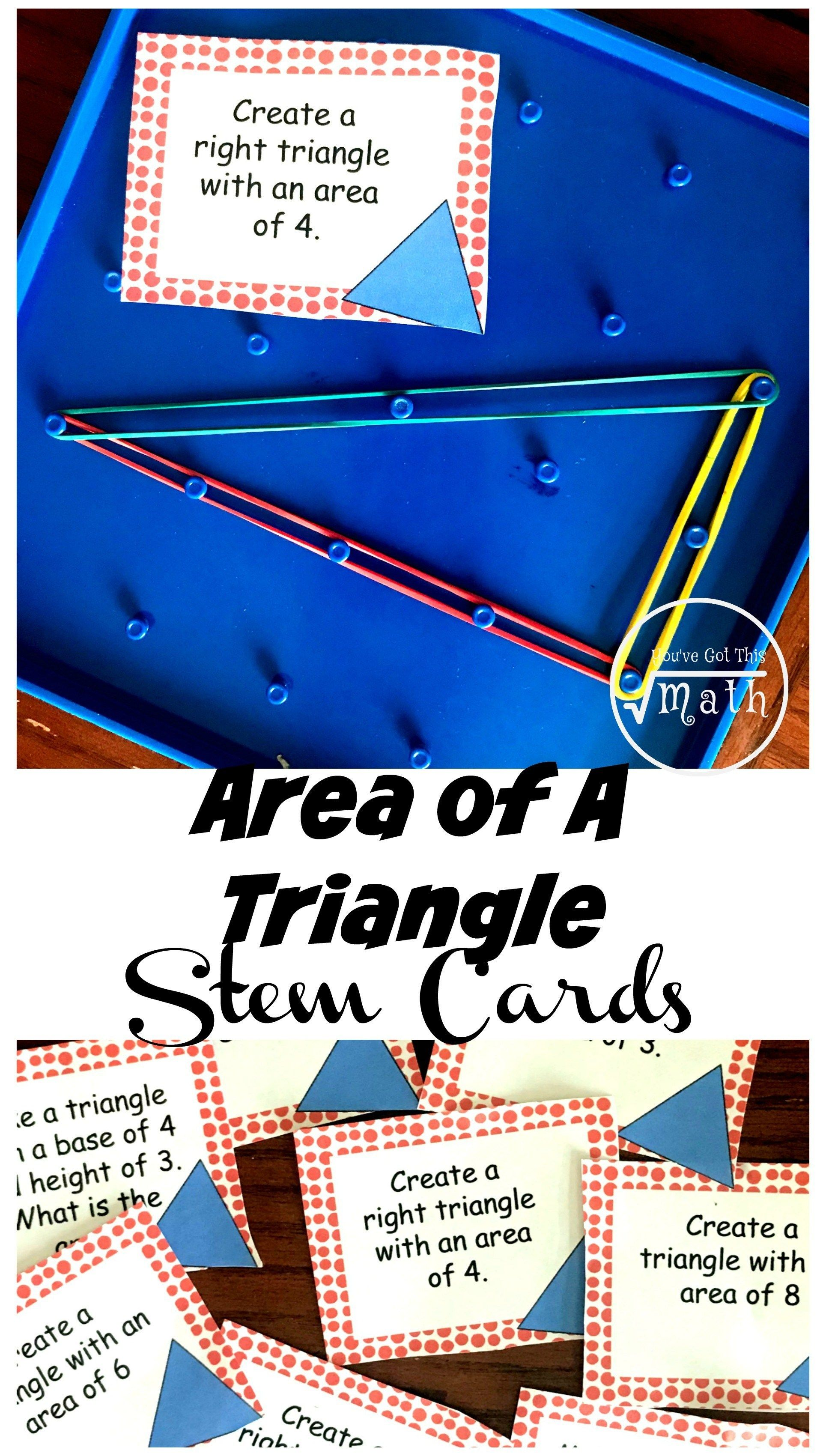 12 Stem Challenge Cards For Area Of A Triangles Practice