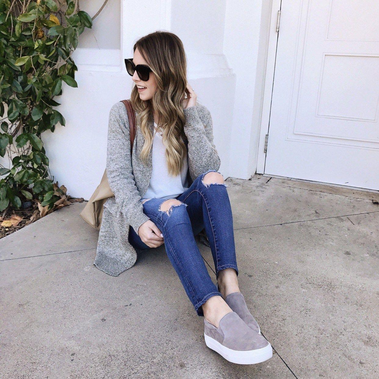 4039c7da8f7 Grey & platform sneakers | Fall in 2019 | Platform sneakers outfit ...