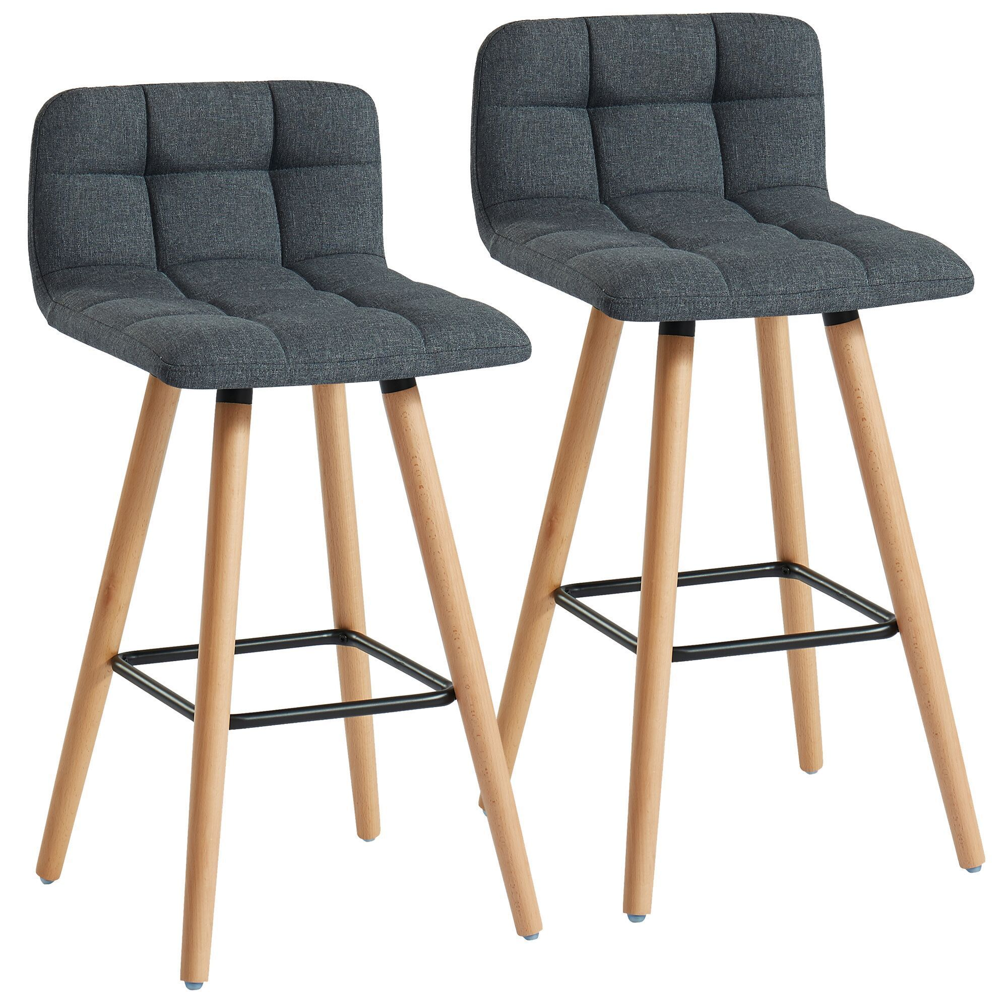 Set Of 2 Charcoal Gray And Beige Transitional Counter Stools 26 In 2021 Stool Bar Stools Counter Stools