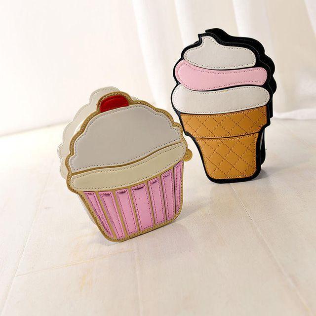 2015 Estate New Ice Cream Cake Forma Borse di Modo del Sacchetto Sveglio Del Fumetto Divertente del partito frizione borsa da sera delle donne A204