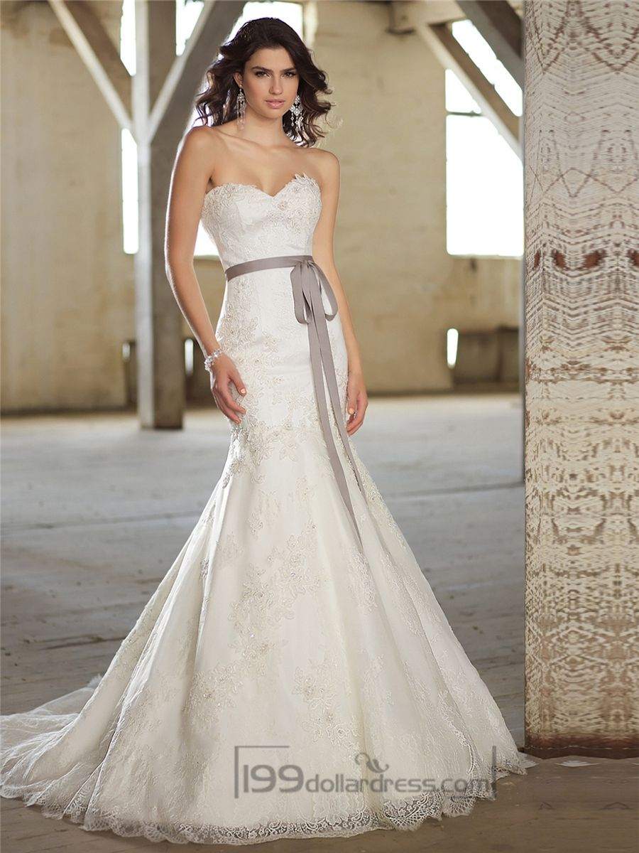 Fit and Flare Sweetheart Lace Appliques Wedding Dresses ...