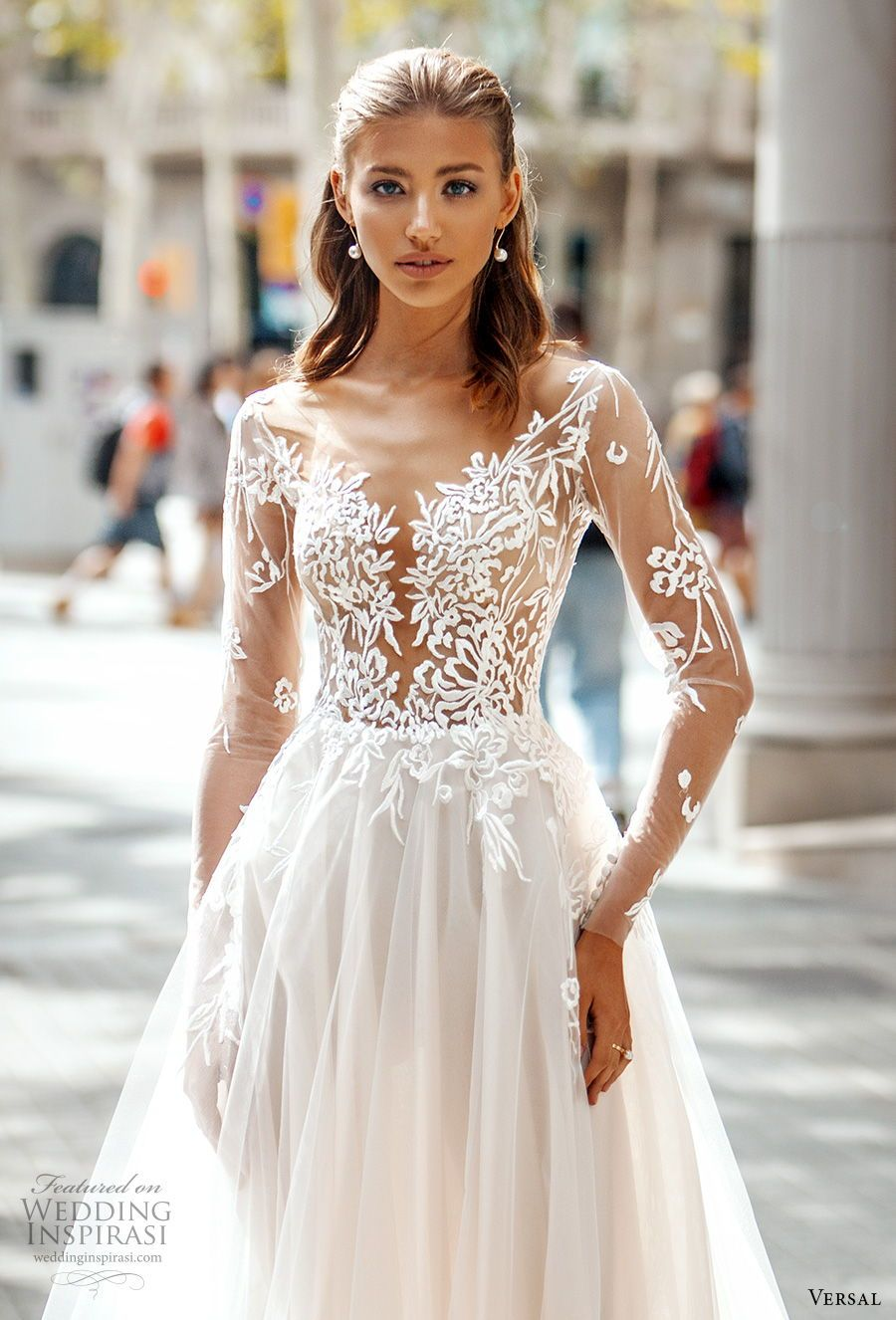 Versal Wedding Dress 2020 Bridal Collection Wedding Inspirasi White Wedding Gowns Sheer Wedding Dress Wedding Dress Styles [ 1326 x 900 Pixel ]