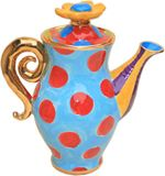 Turquoise with red polka dots teapot -Mary Rose Pottery