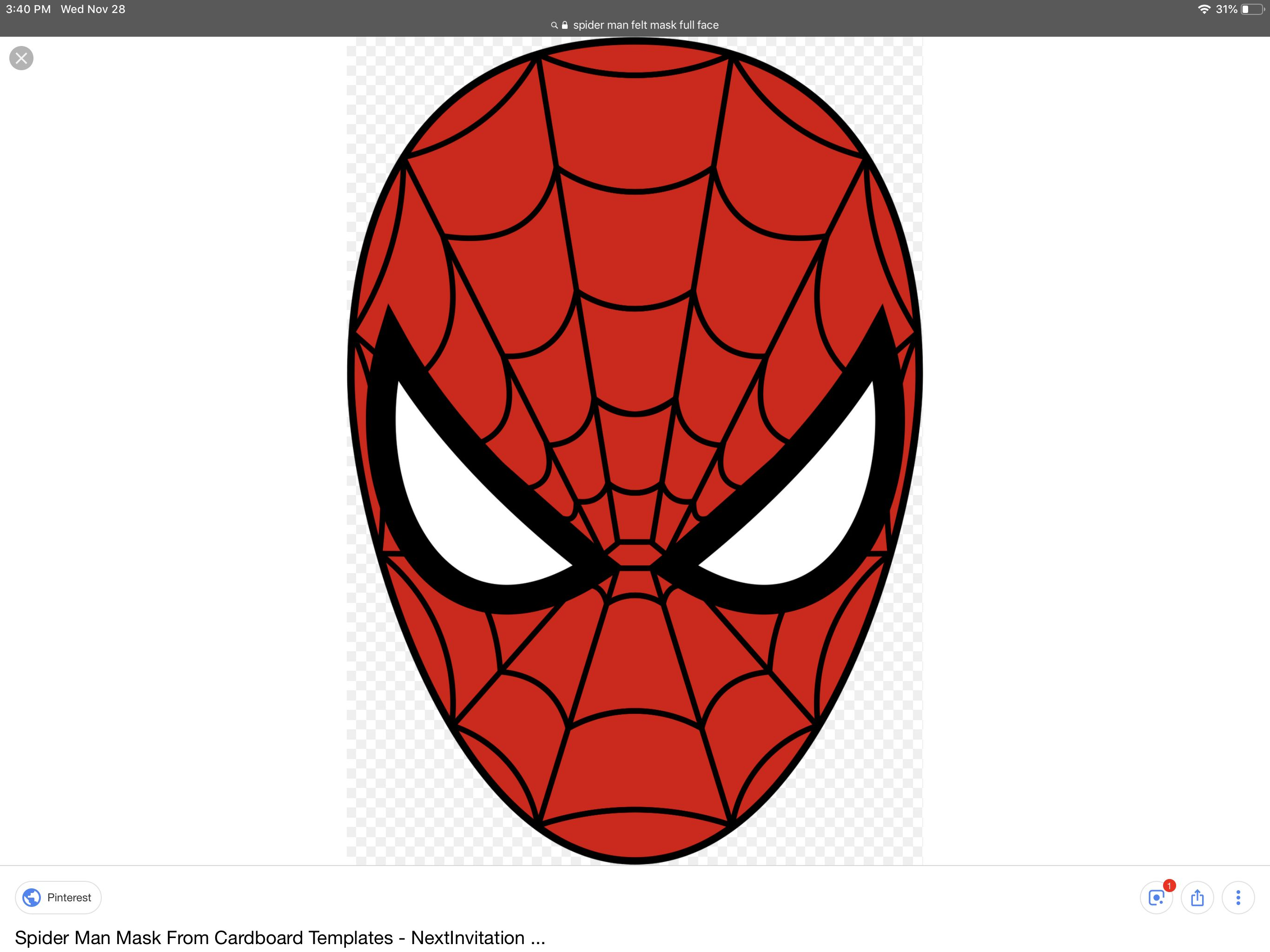 Spider man mask template | Spiderman, Mask template ...