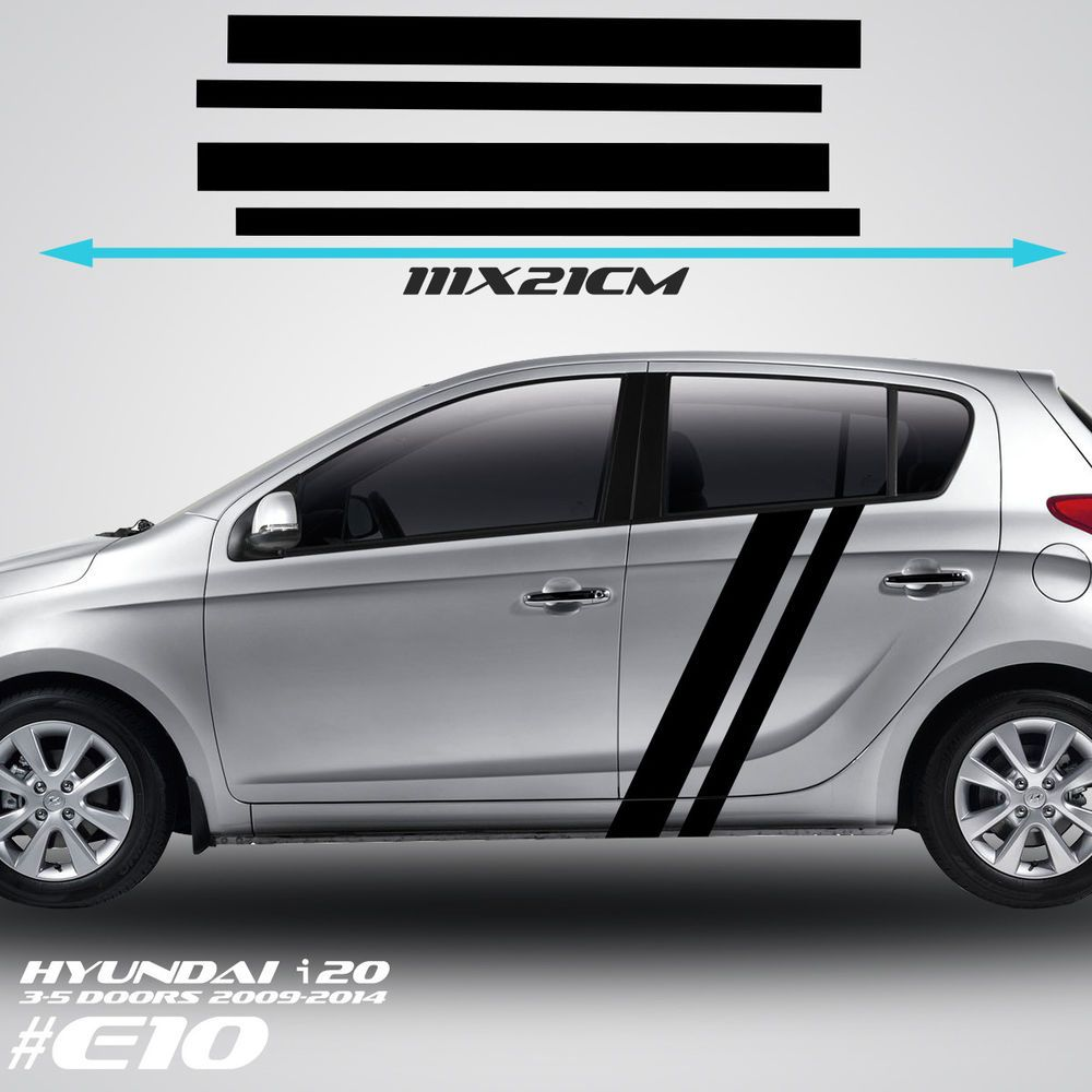 Hyundai I 20 Side Racing Stripes Car Stickers Graphics Tuning Rally Decals Vinyl Wyc Car Sticker Design Car Sticker Ideas Car Exterior [ 1000 x 1000 Pixel ]