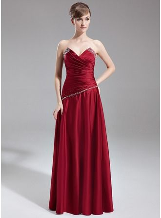 A-Line/Princess Sweetheart Floor-Length Satin Bridesmaid Dress With Ruffle Beading