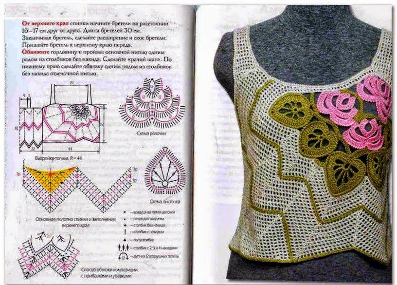 Remera sin mangas con diseño exclusivo tejida con ganchillo con ...