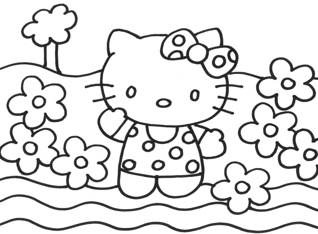 Happy Hello Kitty Christmas Coloring Page Kids Coloring