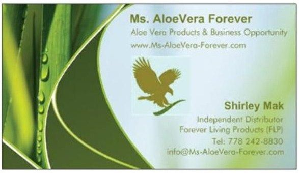 Ms AloeVera Forevers Business Card