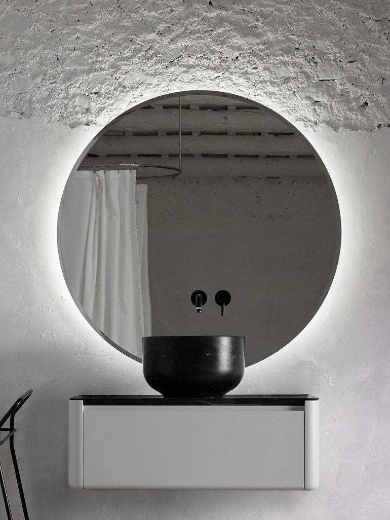 Round Bathroom Mirror With Integrated Lighting Origin Mirror With Integrated Lighting By Inbani Round Mirror Bathroom Mirror Restroom Design