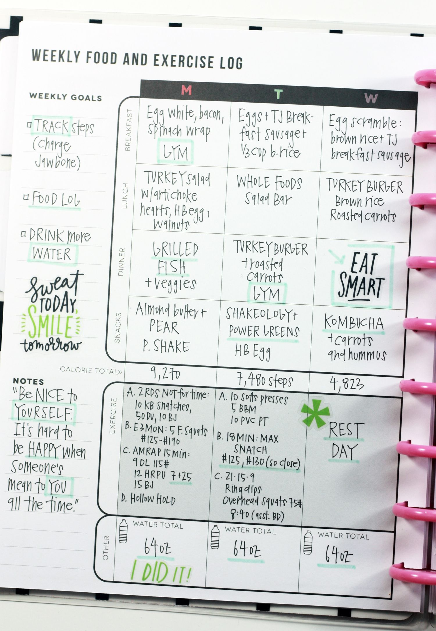 the fitness planner the happy planner pinterest fitness